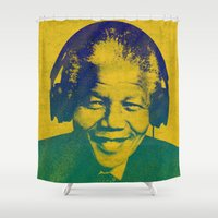 mandela Shower Curtains featuring Mandela Rocked by _JC_