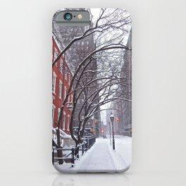 Snow Streets, Washington Square North iPhone Case