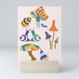Colorful autumn mushrooms and snail Mini Art Print