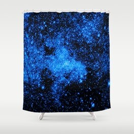 gALAXy Midnight Blue Stars Shower Curtain