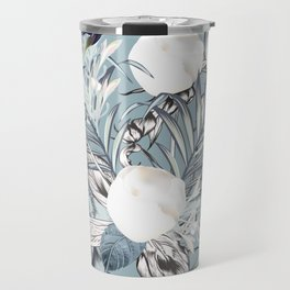 Fashion vector textile pattern with white peony flowers and palm leaves in vintage style  Travel Mug