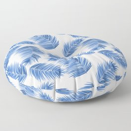 Tropical Palm Leaves - Blue and White Palette Floor Pillow