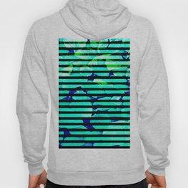 leaf print stripe Hoody
