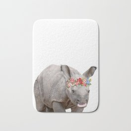 Baby Animal Rhino with flower crown Bath Mat