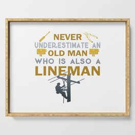 Old Man - A Lineman Serving Tray
