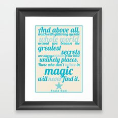 Roald Dahl / Typography Quote Framed Art Print