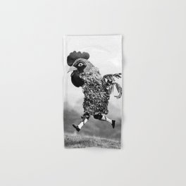 Signs Your Neighbor May Be Spending Too Much Time with his Chickens - black and white photograph Hand & Bath Towel
