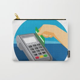Hand Swiping Credit Card on POS Terminal Retro Carry-All Pouch