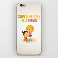 super heroes iPhone & iPod Skins featuring Super Heroes Help Others by youngmindz
