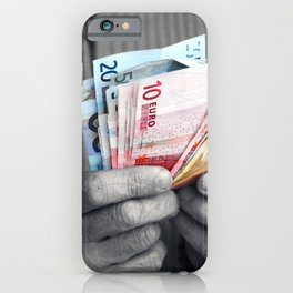 Euro banknote in human hands iPhone Case