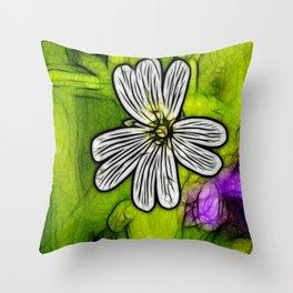 Fractal Stitchwort Throw Pillow