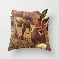 donkey Throw Pillows featuring Donkey by Vic Torys
