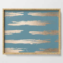 Abstract Painted Stripes Gold Tropical Ocean Blue Serving Tray