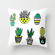 Cactus neon modern Throw Pillow