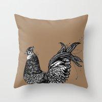 chicken Throw Pillows featuring Chicken  by Aubree Eisenwinter