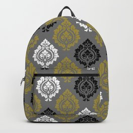 Decorative Damask Pattern BW Gray Gold Backpack