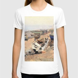 12,000pixel-500dpi - Nils Hansteen - Boats on the Beach at Hirtshals - Digital Remastered T-shirt