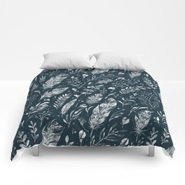 Feathers And Leaves Abstract Pattern Black And White Comforters