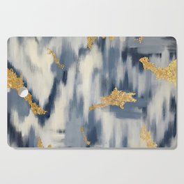 Blue and Gold Ikat Pattern Abstract Cutting Board
