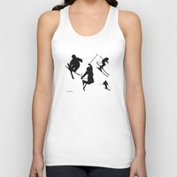 skiing Tank Tops featuring Skiing silhouettes by By Myyna