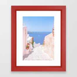 Santorini Greece Mamma Mia pink street travel photography Framed Art Print