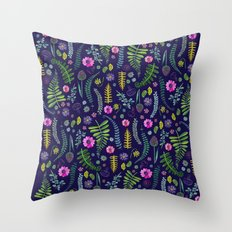 Ferns and Flowers Blue Throw Pillow