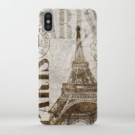Vintage Paris eiffel tower illustration iPhone Case