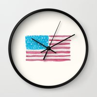 american flag Wall Clocks featuring American Flag by Caleb Boyles