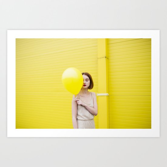 Girl balloon Art Print