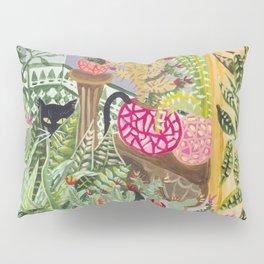 Black cat in the Garden Pillow Sham