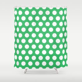 Green and White Polka Dots 772 Shower Curtain