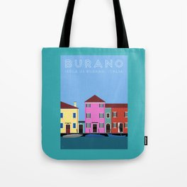 Isola di Burano, Italy Travel Poster Tote Bag