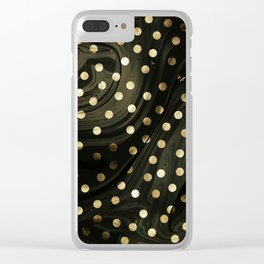 Golden dots in balck marble Clear iPhone Case