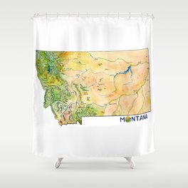 Montana Painted Map Shower Curtain