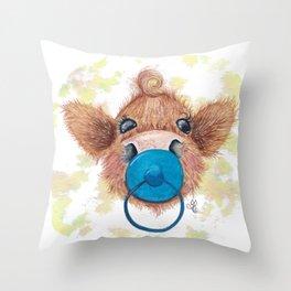 Wee mini blue- MacKenzie-McMoo by Fiona Bárcenas Throw Pillow
