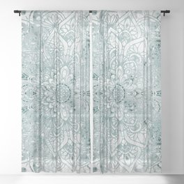 Mandala Flower, Teal and White, Floral Prints Sheer Curtain