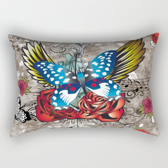 Butterfly with Roses Rectangular Pillow