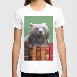 Brown Bear Library Books Collage T-shirt