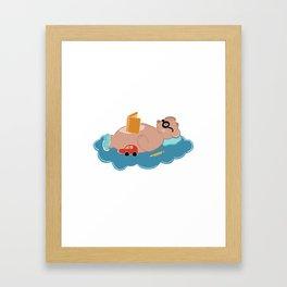 Cute bear reading book Framed Art Print