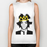 basquiat Biker Tanks featuring BASQUIAT YELLOW by SebinLondon