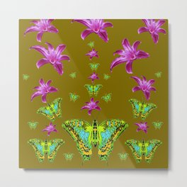 PURPLE LILIES BLUE-GREEN-YELLOW PATTERNED MOTHS Metal Print
