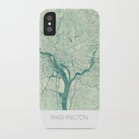 washington iPhone & iPod Cases featuring Washington Map Blue Vintage by City Art Posters