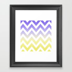 BLUE & YELLOW CHEVRON FADE Framed Art Print