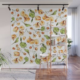 Orange Bougainvillea Illustration Wall Mural