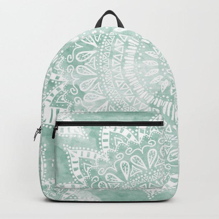 BOHEMIAN FLOWER MANDALA IN TEAL Backpack