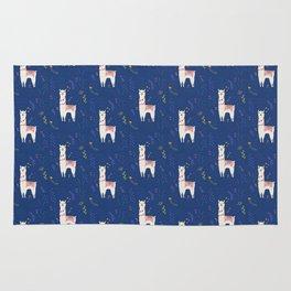 Llama on Blue Rug