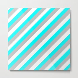 White, Teal and Grey in the softest of shades Metal Print