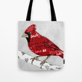 Cardinal Bird Lost Loved One Visiting Tote Bag