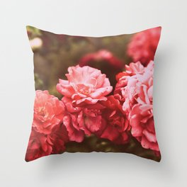Vintage Flowers Deep Pink Burgundy Throw Pillow