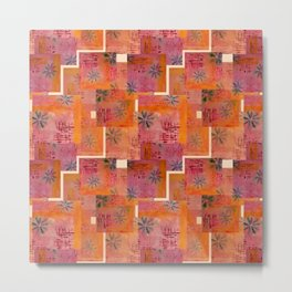 Orange geo and florals Metal Print